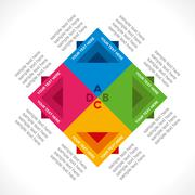 Colorful square info-graphics design concept vector Piirros