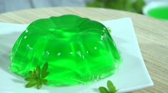 Homemade Woodruff Jelly Dessert (loopable) Stock Footage