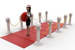 3d woman on red carpet with santa hat and gift bag concept - stock illustration