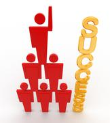 3d team of men with success text concept Stock Illustration