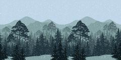 Seamless Winter Woodland Landscape - stock illustration