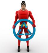 Stock Illustration of 3d superhero holding recycle symbol concept