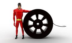 3d superhero with film roll concept Stock Illustration