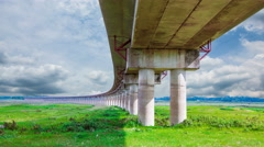Landscape viaduct crossing bodies of water Stock Footage