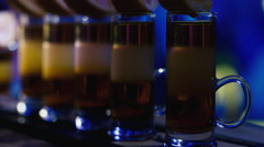 Several shotdrink with lemon at the party Stock Footage