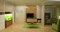 Rendering  3D of white living room interior Stock Illustration
