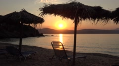 4K Amazing sunset sunrise tropical beach exotic island Greece emblem attraction Stock Footage