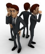 3d men in serious thinking concept Stock Illustration