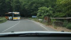 Driving in the south of France. Meeting local bus at a corner. Stock Footage