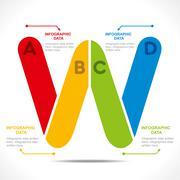 creative alphabet  W  info-graphics design concept vector - stock illustration