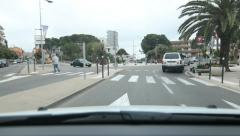 Driving in the town of Vence with roundabout. South of France. - stock footage