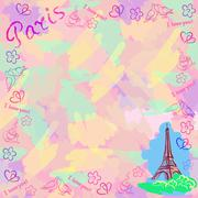 Colorful vector background with the sights of Paris. Stock Illustration