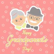 Vector illustration. Happy grandparents day. Stock Illustration