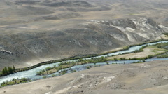 Chuya River Valley landscape in Altai Mountains - stock footage