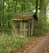 rundown cottage - stock photo