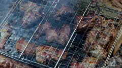 Marinaded chicken fried on coals Stock Footage