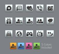 Social Communications Icons -- Satinbox Series - stock illustration