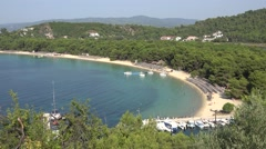 4K Aerial view famous Koukounaries beach Greek emblem Skiathos Island landmark   Stock Footage