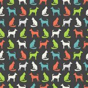 Animal seamless vector pattern of cat and dog silhouettes Stock Illustration