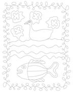 Simple stylized contour line drawing with duck, water and fish. - stock illustration