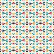 Animal seamless vector pattern of paw footprint. Endless texture Stock Illustration