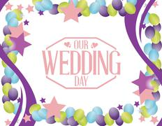 Our wedding day party balloon background Stock Illustration