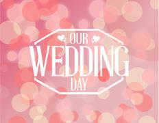 Our wedding day pink bokeh background illustration Stock Illustration