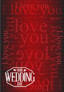 Our wedding day stamp I love you background Stock Illustration