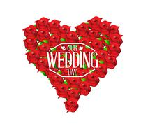 Our wedding day love heart in flowers illustration Stock Illustration