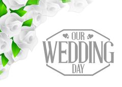 Our wedding day stamp and white flowers Stock Illustration