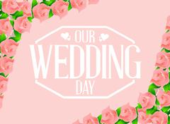 Our wedding day flowers card illustration Stock Illustration
