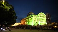 Amazon Theater at night in Manaus, Brazil - stock footage
