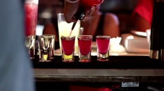 Pouring Red Shots in a Nightclub Bar, Party Scene - stock footage