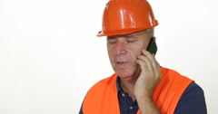 Confident Engineer Talk Hold Mobile Phone Call Man Talking Serious Conversation Stock Footage
