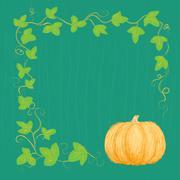 Hand drawn pumpkin and vine - stock illustration