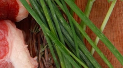 Fresh raw red meat with thyme and chives Stock Footage