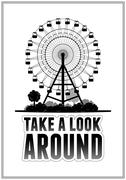 Silhouette of a ferris wheel at the park. Typography card vector illustration Stock Illustration