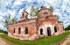 Old abandoned orthodox church in Novgorod region, Russia - stock photo