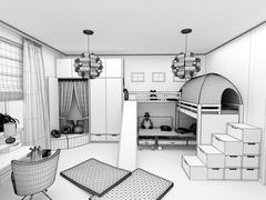 rendering - children room with two beds - stock illustration