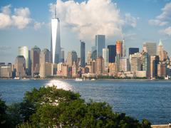 The Manhattan skyline as seen from Ellis Island Stock Photos