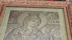 Ancient Orthodox icon in the church Stock Footage