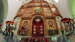 Ancient icon in the Orthodox Church, the beautiful golden image Stock Footage