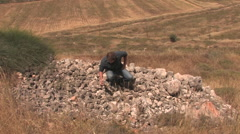 Hiking Through The Biblical Tel Shiloh Stock Footage