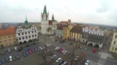 Aerial shot of beautiful old European city, central square, tourist attraction Stock Footage