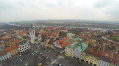 Aerial shot of old town with beautiful architecture, European red roof buildings Stock Footage