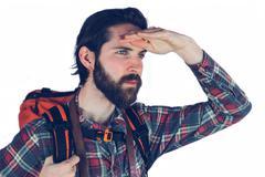Adventurer looking away - stock photo