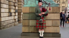 Scottish Men Playing The Bagpipes Stock Footage