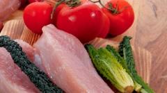Turkey meat steak fillet with vegetables Stock Footage