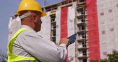 Busy Worker Man Holding Using Tablet Engineer Supervisor Construction Site Area Stock Footage