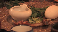 Passover Dinner Table with Friends Stock Footage